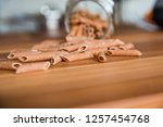 whole wheat pasta   Shutterstock . vector #1257454768