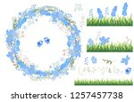 round frame with pretty flowers ... | Shutterstock .eps vector #1257457738