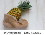 one big ripe pineapple gift on... | Shutterstock . vector #1257462382
