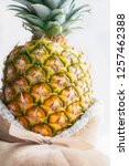 one packed gift large ripe... | Shutterstock . vector #1257462388