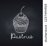 hand drawn cupcake icon. vector ... | Shutterstock .eps vector #1257494905