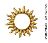 Golden sun shape frame with...