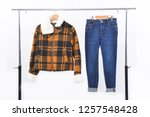 female brown clothes and  blue...   Shutterstock . vector #1257548428