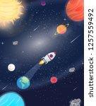 illustration of flying rocket... | Shutterstock .eps vector #1257559492