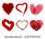 set of hearts painted with... | Shutterstock .eps vector #125759432