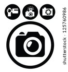 vector black camera icons set... | Shutterstock .eps vector #125760986