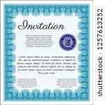 light blue vintage invitation.... | Shutterstock .eps vector #1257613252