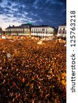 madrid   march 29  thousands of ... | Shutterstock . vector #125763218