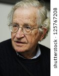 Small photo of ISTANBUL, TURKEY - OCTOBER 10: Reputed author Noam Chomsky answers questions by the journalist at his visit to Turkey on October 10, 2010 in Istanbul, Turkey.
