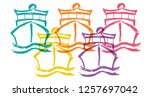 cute rainbow color set... | Shutterstock .eps vector #1257697042
