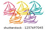 cute rainbow color set... | Shutterstock .eps vector #1257697045