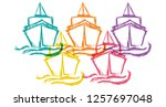 cute rainbow color set... | Shutterstock .eps vector #1257697048