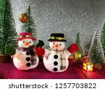 lovely snowman with christmas...   Shutterstock . vector #1257703822