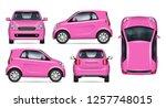 pink little car vector mockup... | Shutterstock .eps vector #1257748015
