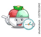 with clock sorbet with mint...   Shutterstock .eps vector #1257811042