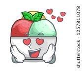 in love scoops of sorbet in...   Shutterstock .eps vector #1257811078