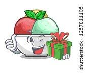 with gift scoops of sorbet in...   Shutterstock .eps vector #1257811105