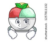 smirking sorbet with mint bowl...   Shutterstock .eps vector #1257811132