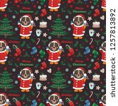 seamless pattern with bear and...   Shutterstock .eps vector #1257813892