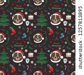 seamless pattern with bear and...   Shutterstock .eps vector #1257813895