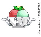 wink sorbet with mint bowl on...   Shutterstock .eps vector #1257817282