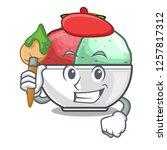 artist sorbet ice cream in cup...   Shutterstock .eps vector #1257817312