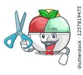 barber sorbet ice cream in cup...   Shutterstock .eps vector #1257819475