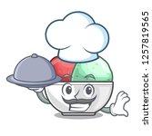 chef with food scoops of sorbet ...   Shutterstock .eps vector #1257819565