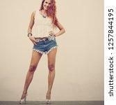full portrait of beautiful slim ... | Shutterstock . vector #1257844195