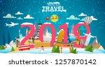 winter travel. travel to world. ... | Shutterstock .eps vector #1257870142
