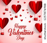 happy valentines day typography ... | Shutterstock .eps vector #1257876988