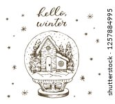 winter snow globe with house... | Shutterstock .eps vector #1257884995