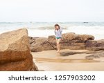 the concept of a beach holiday... | Shutterstock . vector #1257903202