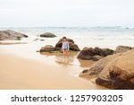 the concept of a beach holiday... | Shutterstock . vector #1257903205