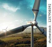 windmill generator top wiev on... | Shutterstock . vector #1257908392