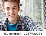 close up portrait of trendy... | Shutterstock . vector #1257930385