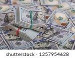 american dollars in one hundred ... | Shutterstock . vector #1257954628