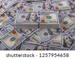 american dollars in one hundred ... | Shutterstock . vector #1257954658