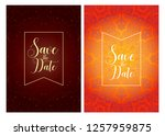 invitation or wedding card with ... | Shutterstock .eps vector #1257959875