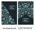 invitation or wedding card with ... | Shutterstock .eps vector #1257959902