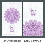 invitation or wedding card with ... | Shutterstock .eps vector #1257959935