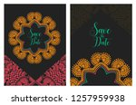 invitation or wedding card with ... | Shutterstock .eps vector #1257959938