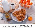 homemade cinnamon brioche buns  ... | Shutterstock . vector #1257966412