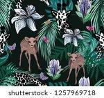 trendy monochrome giraffes ... | Shutterstock . vector #1257969718
