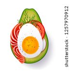ripe slice of avocado with... | Shutterstock .eps vector #1257970912