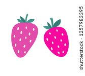 two hand drawn strawberries.... | Shutterstock .eps vector #1257983395
