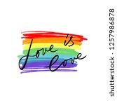 lgbt flag and lettering text... | Shutterstock .eps vector #1257986878