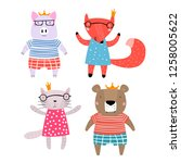 pig  fox  bear and cat... | Shutterstock .eps vector #1258005622
