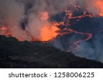 volcano yiragongo with fire   Shutterstock . vector #1258006225