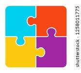 4 pieces puzzle design | Shutterstock .eps vector #1258011775